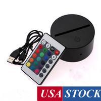 3D LED Gece Işık Lambası Bankası Çatlak Illusion LED Lamba Uzaktan Kumanda + USB Kablosu ile, 7 Renkler Oda Dükkanı Restoran Dekorasyon için Değişen