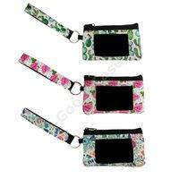 Sac à main en néoprène carte de crédit Porte-monnaie Femmes Filles Bracelet Portefeuilles Leopard tournesol Tie Dye Floral Fashion Pochette F102202