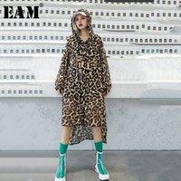 [EAM] Женщины леопард напечатаны шифон большой размер блузка новый с капюшоном с длинным рукавом с капюшоном свободная подходит рубашка мода весна лето 1R796 Y200828
