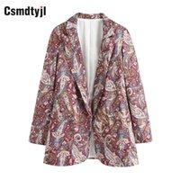 CSMDTYJL Kadınlar Paisley Baskılı Cepler Blazers Feminino Vintage Uzun Kollu Kadın Giyim Coat Chic Suit Tops
