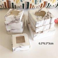 50 pcs Cor de mármore 6.5 * 6.5 * 3cm Caixas de armazenamento de chocolate com janela clara Dobrável Kraft papel caixa de pacote caixas com alta qualidade
