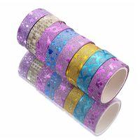 Cadeau Glitter Papier collant Glitter 10pcs DIY Scrapbooking Diary Label Fournitures de masquage Rubans Rubans Washi Ruban Multifunction