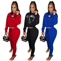 Abbigliamento Moda Donna Casual solido Colore di stampa a maniche lunghe a due pezzi di usura di sport delle donne si adattano al nuovo elenco
