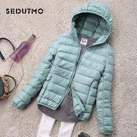 SEDUTMO Winter Plus Size 4XL Womens Down Jackets Short Ultra Light Duck Down Coat Hooded Puffer Jacket Autumn Parkas ED034 201104