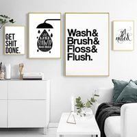 Seguro vida Minimalista Blanco y negro Letras de baño Pinturas de lienzo Imágenes de arte de la pared Cartel nórdico Imprimir Decoraciones para el hogar1