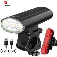 X-Tiger Bike Light Front Водонепроницаемый USB Перезаряжаемый LED 4000MAH MTB Велосипед Наружный Велоспорт Фара Безопасность Хвост Свет 201023