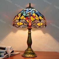 Lampada da tavolo Dia 30 cm europeo retrò vetro colorato in lega di alluminio giallo dragonfly dimmerabile e27 per soggiorno sala da pranzo camera da letto bar DHL