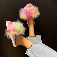 Pentole di colore misto Fluffy Flat Pantofole da donna Casual Open Toe Furry Slifts Shoes Shoes Ladies Calzature da interno Flip all'aperto Flops1