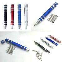 Multifunktion 8 in 1 Präzisionsschraubendreher mit magnetischem Mini tragbarer tragbarer Aluminium-Werkzeug-Stift Reparaturwerkzeuge für das Mobiltelefon DBC VT0220