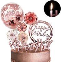 로즈 골드 케이크 토퍼 행복 한 생일 케이크 장식 여자에 대 한 골드 촛불 여자 색종이 풍선 종이 팬 컵 케이크 toppe