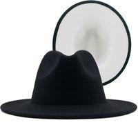 2020 고품질 도매 가짜 울 페도라 모자 펠트 남성 여성 2 톤 모자 다른 색상 모자 챙을 재즈 모자 파나마 파티 모자에 대한