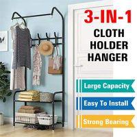 3 en 1 Coat Rack Landing Ropa Holder Colgador Piso Permanente Estante de pie Estante moderno Simple Style Muebles de dormitorio 201221