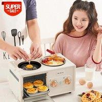 Électrique 3 en 1 Machine de petit-déjeuner de ménage Mini pain grille-pain four à cuisson Omelette Fry Pan Chaudière chaude chaude alimentaire vitre UE # 9L3T