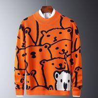 망가 캐주얼 스웨터 북극곰 패턴 유행 슬림 스웨터 면화 긴 소매 원형 칼라 남성 따뜻한 풀 오버 오렌지 201211