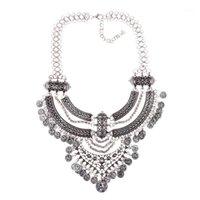 Boho grande gargantilha colar mulheres incrustadas de escultura jóias colares de metal cadeia de metal gargantilha moeda pingente de moeda colares1
