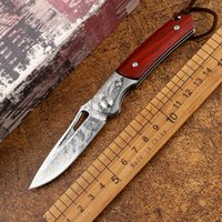 Outdoor tactical Damascus steel wooden handle survival hunti...