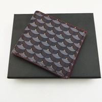 패션 망 짧은 지갑 클래식 정품 가죽 남성 물고기 스케일 패턴 지갑 카드 슬롯 Bifold 지갑 작은 지갑 상자