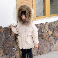 Niños Diseñador abajo de la chaqueta de las muchachas de la manera fijadas capa del bebé gruesa chaqueta con capucha de los niños Sólido Escudo de colores caliente hacia abajo Mantener congelado invierno