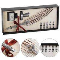 Kit de pluma de pluma de plumas de fuente de pluma retro incluye pluma, tinta, 5 puntas de reemplazo, base de soporte, conjunto de caja de regalo exquisita
