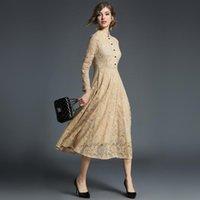 İlkbahar Sonbahar Dantel Uzun Elbise Kadın Standı Boyun Uzun Kollu Artı Boyutu 5XL Ince Ofis İş Elbisesi Kadın Zarif Parti Elbiseler 201008
