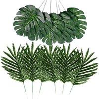 Dekoratif Çiçekler Çelenk 24 ADET 2 çeşit Tropikal Bitki Palmiye Yapay Sahte Safari Hawaiian Kaplumbağa Yaprak Luau Parti Supp