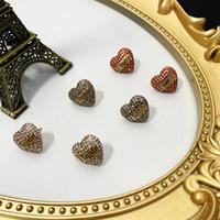 Vintage 14k coração de ouro em forma de brincos de prisioneiro de cristal apropriado para a letra de d jóias para casamento de senhoras