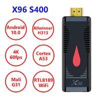 تلفزيون عصا x96 s400 الذكية الروبوت 10.0 رباعية النواة allwinner h313 رباعية النواة wifi 1080P 4K 2GB 16GB 60FPS TV Dongle vs x96s
