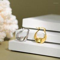 جديد موبيوس هوب القرط 925 فضة الذهب الأبيض فاسق القرط الساحرة المرأة الكورية 925 الفضة الأزياء والمجوهرات 1