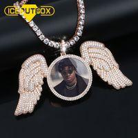Новое розовое золото сшитое фото Angel Wing медальоны ожерелье с AAA Кубический циркон Мужская хип-хоп ювелирных изделий теннис Сеть 200928