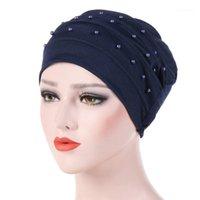 Beanie / черепные колпачки женские шляпа женщины эластичные тюрбан мусульманские исламские джерси бусины рак химии кепки дамы растягивающие головки обертки шарф 4.111