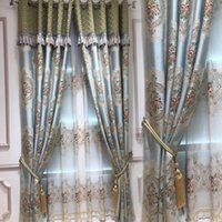 European Luxury 4D Jacquard Blackout Curtains for Bedroom hi...