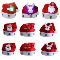크리스마스 모자 LED는 어린이와 성인 크리스마스 파티 장식 식기 홀더 HH7-227에 대한 모자 산타 눈사람 엘크 모자 크리스마스 선물 조명