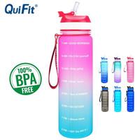 Quifit 1L 34Oz Tritan Wasserflasche mit Stroh oder Filp BPA Free My Drink Flaschen Tragbare Protein Shaker Sport Gym Jug 201126