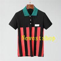 2021 Luxe Europe Hommes Stripe Print T-shirts Haute Qualité Coton Polo Chemise Lettre Impression T-shirts Designer Casual Tops Tee