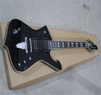 2021 HOT wholesale Mosaic inlay Iceman Special Shape signature Metal Black Electric Guitar