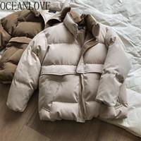 Oceanlove Stand Collier Collier Chaud Manteau Femme Solide Couren Coréen épais Veste d'hiver Femme 2020 Mode Parkas Lâche Outwear 13144