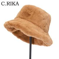 New Faux Fur Inverno Secchio Cappello Cappello Donne Outdoor Spesso Caldo Solido Pescatore Cappello Panama Femminile Ragazze Fashion Moda Viaggio Viaggio Cappuccio Tappo Bob