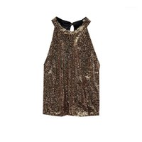 Camisoles tanques sexy clube noite colete lantejout mulheres halter backless tops shinny bling sling básico punk colheita de topo mulher chic incha