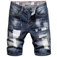 2021 Jeans d'été Vêtements Trend Mens Heart Denim Classic Pockets Torn Trou Peinture Print Print Jeunes Coton Shorts