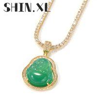 الهيب هوب مثلج الذهب بوذا قلادة قلادة مكعب الزركون قلادة مع سلسلة حبل الأزياء فاسق مجوهرات الهدايا