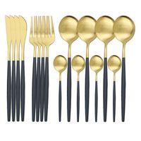 16PCS ماتي الذهب الأسود عشاء مجموعة أدوات المائدة مجموعة 304 الفولاذ المقاوم للصدأ أدوات المائدة ملعقة سكين شوكة فضيات المطبخ أطباق