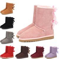 UGG Boots La dernière conception courte bébé fille femmes enfants Bow-Tie Bottes de neige fourrure intégrée Gardez Bottes chaud Taille de l'UE 25-41