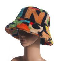 2020 NOUVEAU Multicolore extérieur Multicolore FAUx Fourrure Modèle Motif de godet moelleux Chapeau Femmes Hiver Cap Doux Gorro Pescador