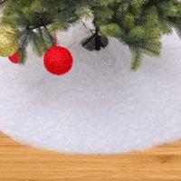 Natale peluche Abito Albero peluche Ourwarm Pure 48 pollici bianco Albero di Natale gonna in pelliccia sintetica tappeto per Capodanno decorazioni domestiche EEA2144