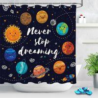 Chuveiro cortinas garoto tecido banheiro casa decoração encantador desenhos animados planeta banho tela impermeável banheira de banho decoração