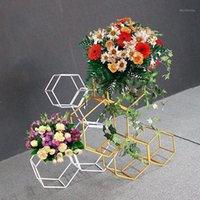 Artificial creativo hexagonal boda casa fiesta telón de fondo soporte oro blanco boda flor de hierro soporte apoyos arco decoración1