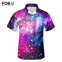 Hommes Casual Shirts Fudesigns-Violet Galaxy Space Bleu Starfield Imprimer Mask Mode Summer Manches Sourtes Tees Adultes Beach Vacances