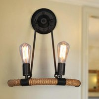 빈티지 레트로 로프 철 벽 램프 산업용 로프트 E27 2 머리 벽 조명 미술관을위한 소박한 sconce 빛