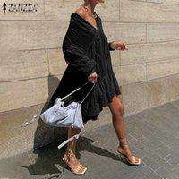 S-5XL ZANZEA Frauen Rüschen Kleider 2021 Casual Sommer Mini Vestidos Weibliche Hauchhülse Revers Sommergut Sexy Off Shouder Beach Robe1