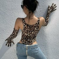 Mulheres Sexy Bodysuit Sem Mangas Romper Top Leopard Impresso Longo Luvas Jumpsuit Set Femme Macacão Party Club Moda Roupas1